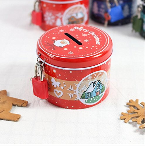 Jinsun Personalized Baby Nursery Decor Christmas Piggy Bank Cylinder Tinplate Storage Box (Red Santa Claus)