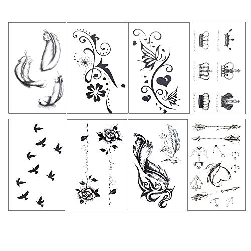 50 sheets Temporary Fake Tattoos Waterproof Stickers Kit for Adults Women Girls, Hand Neck Wrist Body Art Paint(Style 1)