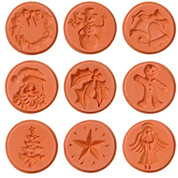 Amazon.com: JBK Pottery Christmas Cookie Stamps, Set of 9: Cookie ...