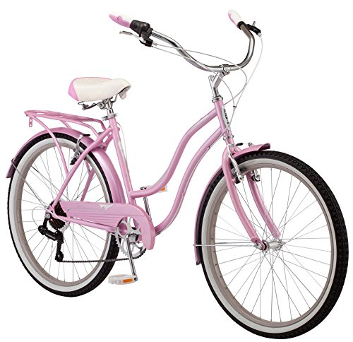 Schwinn Perla Women's Cruiser Bicycle, Featuring 18-Inch Step-Through Steel Frame and 7-Speed Drivetrain with Front and Rear Fenders, Rear Rack, and 26-Inch Wheels, Pink ()