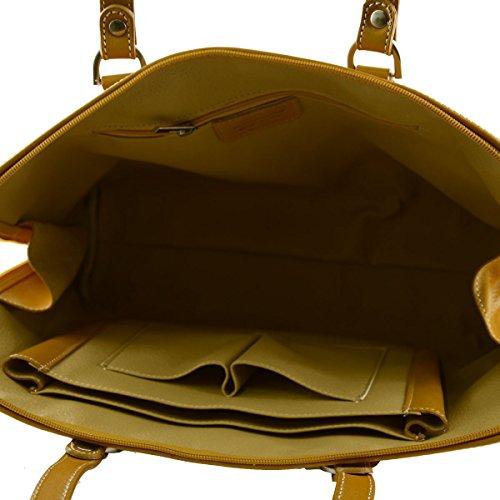 2708ae27f6854 ... Serviette En Cuir Véritable Pour Femme 1 Compartiment Couleur Jaune - Maroquinerie  Fait En Italie -