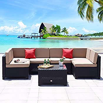 cloud mountain 7 piece patio pe rattan wicker furniture set backyard sectional furniture set outdoor patio garden sectional sofa set black rattan with - Cheap Patio Furniture Sets