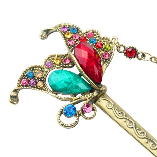 FOONEE Lovely Vintage Classic Turquoise Rhinestone Engrave Butterfly Bob Hair Pins,Multicolor