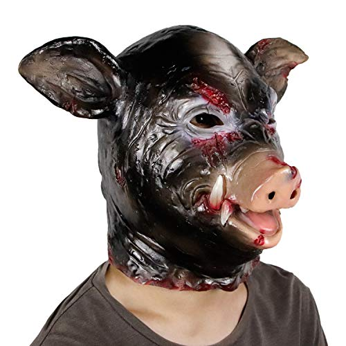 (Halloween Horror Animal Mask Masquerade Pig Head Helmet Mask Animal Cosplay Costume The Latex Mask)