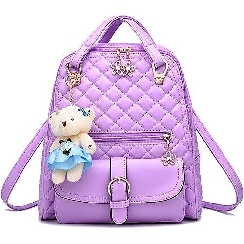 (JVP1031-P) bolso de las señoras mochila de cuero de LA PU rosa de gran capacidad bolsa de viaje de vuelta señoras 3 way bolso de hombro de la manera de moda suburbano ligero escuela Púrpura