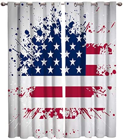 Blackout Curtains 2 Panels Darkening Draperies Curtains,Graffiti Flag of United States of America Blackout Window Curtains,Thermal Insulated Blackout Curtains for Living Room Bedroom,104 W By 90 L