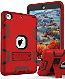 TIANLI Apple iPad Mini Case,iPad Mini 2 Case,iPad Mini 3 Case 3 in 1 Hybrid Shockproof Sturdy Kickstand Protective Cover,Red Black