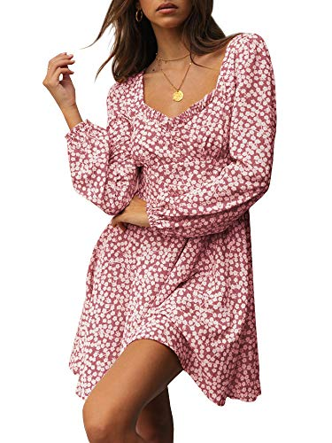 - Yobecho Womens Summer Ruffle Sleeve Sweetheart Neckline Printing Dress (XX-Large, X-Pink)