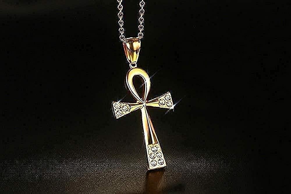 Yiffshunl Collar Collar U0026 Colgante La Llave de N Cadena en Tono Dorado para Mujeres/Hombres Joyería CZ Piedra Collar de Cruz egipcia Longitud de Cadena 50 Cm