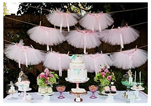 Originals Group Tutu Table Skirt,Baby Pink Tulle Tutu Table Skirt Decor, Birthday Event Wedding Party Decoration (Mini Pink Tutu Garland)]()