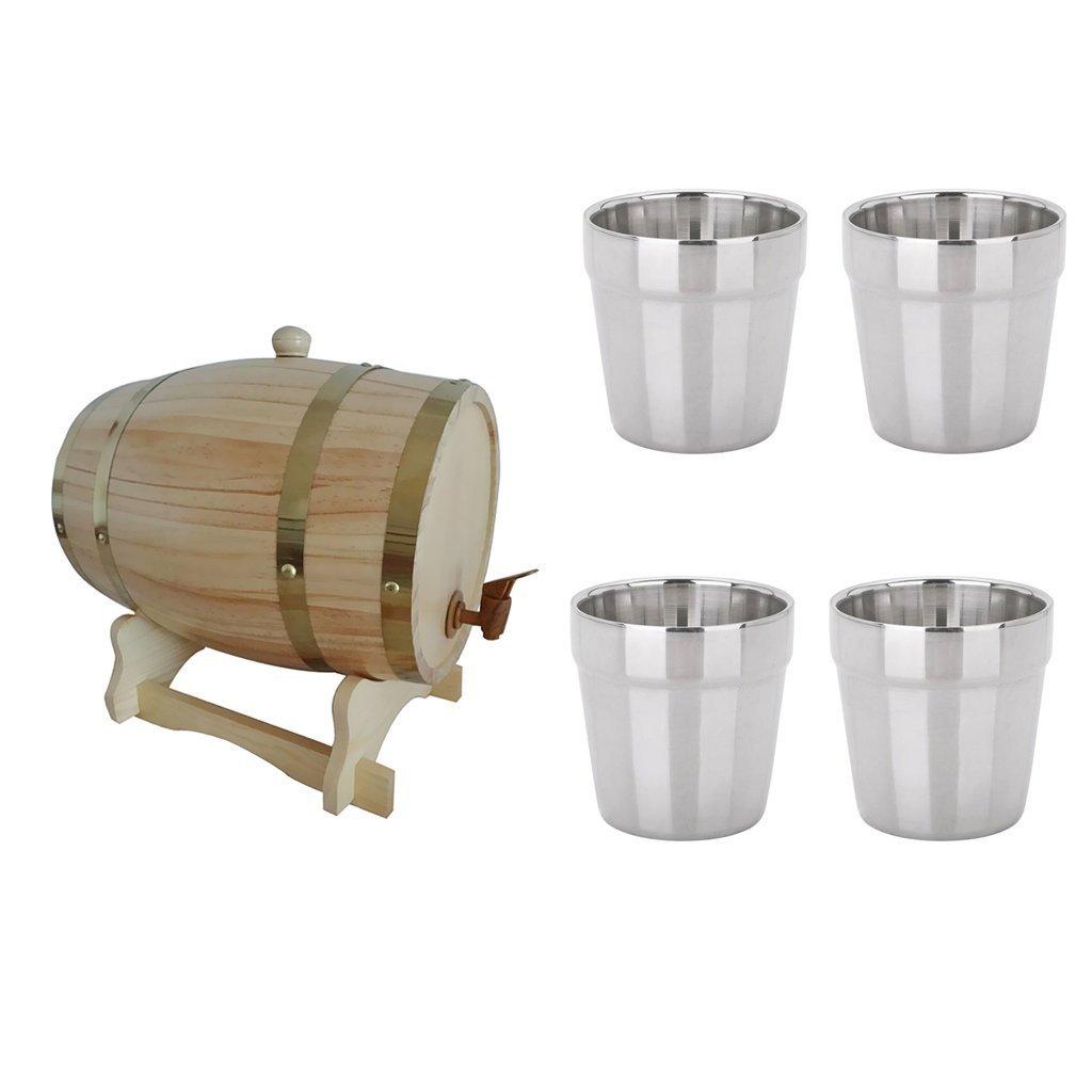 sgerste 1.5L Holz Holz-Weinfass Bier, Whiskey Wein Port Fässer + 4PCS Becher