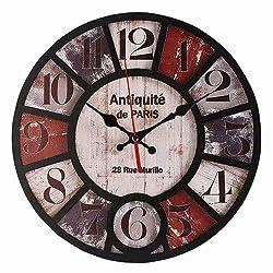 Königswerk Retro Wall Clock, No Ticking Wood Clock Noiseless Quartz - Easy to Read and Hang Home Office School Round Clock (Antiquite)