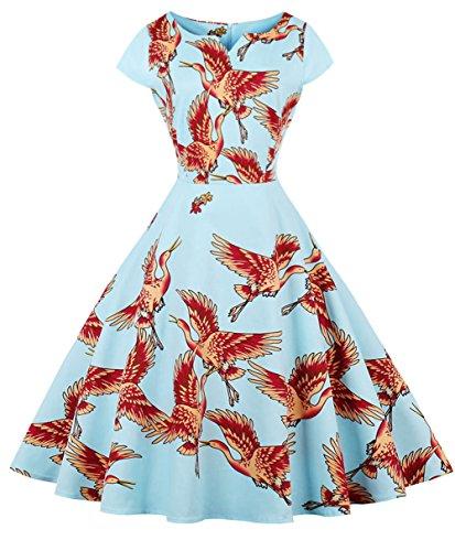 DRT019 Baile Azul Vestido Mangas COUPLE 1950S FAIRY Rockabilly Lunares de Vintage Ganso Cap p6Wwfpvaq