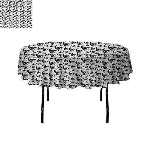 Curioly Skull Iron-Free Anti-fouling Holiday Round Tablecloth Skulls Pattern Monochrome Detailed Sketch Human Skeleton Head Fear Halloween Theme Table Decoration D39.4 Inch Black White]()