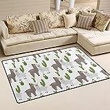 WellLee Area Rug,Lovely Animal Lamas Cactus Alpaca Floor Rug Non-slip Doormat for Living Dining Dorm Room Bedroom Decor 60x39 Inch