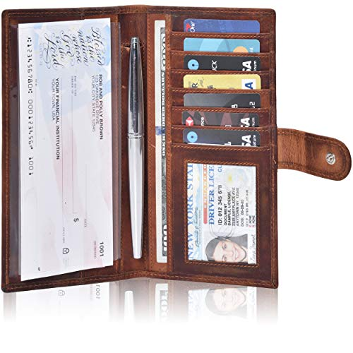 Valenchi-Leather RFID Checkbook cover for Men and Women-Duplicate Checks RFID Card Standard Register with pen inserts (Cognac Vintage)