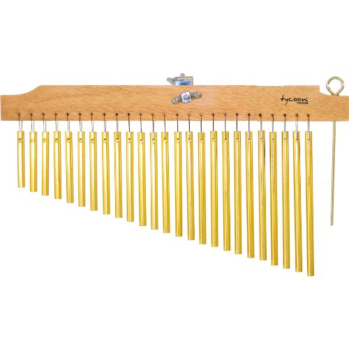 Tycoon Percussion 25 Gold Chimes With Natural Finish Wood Bar TIM-25 G N