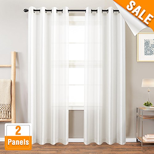 White Faux Silk Curtains for Bedroom Dupioni Light Reducing Window Curtain for Living Room Satin Drapes Privacy Window Treatments Grommet Top 63 inches Long, 2 Panels Silk Dupioni Window Panel