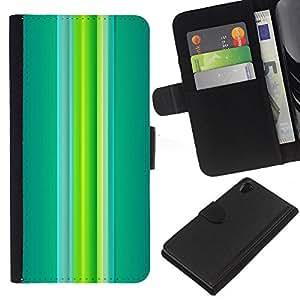 All Phone Most Case / Oferta Especial Cáscara Funda de cuero Monedero Cubierta de proteccion Caso / Wallet Case for Sony Xperia Z2 D6502 // Green Teal Vibrant Spring Lines