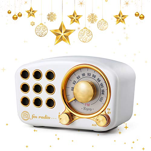Retro Bluetooth Speaker FM Vintage Radio with Loud Volume, Strong Bass Enhancement, Bluetooth 4.2 Wireless Connection, TF Card & MP3 Player