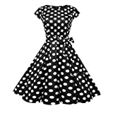 Swyss Women's Vintage Hepburn Wind Polka Dot Short Sleeve Lace-up Evening Party Prom Swing Dress Elegant Tunic Dress (M, Black)