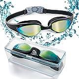 HYX Swim Goggles, Swimming Goggles with Flexible Soft Nose Bridge & Coloured Mirror Lenses, No Leaking Anti Fog Uv Protection Triathlon Swim Goggles for Adult Men Women Youth Kids