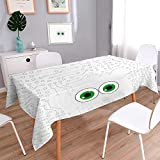 L-QN Square Solid Tablecloth Tech Hardware Circuit Board Backdrop with Eye Forms Digital Picture Pearl Black Jade Table Cover 60''x84''