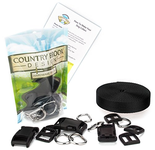 (Country Brook Design | 3/4 Inch Deluxe Dog Collar Kit with Black Nylon Webbing)