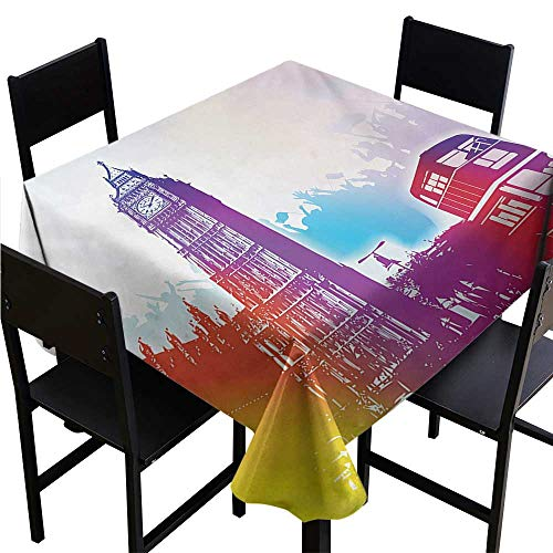 Glifporia Square Tablecloth Plastic London,Historical Big Ben and Bus Great Bell Clock Tower UK Europe Street Landmark,Purple Red Yellow,W36 x L36 Rectangle tablecloths
