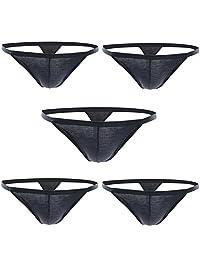 Closecret Men's Thongs, Sexy Cotton Underwear Pack of 5pcs G-Strings