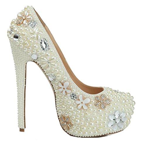 Bomba De Artificial Mujeres De Mano PU SYYAN Strass Hecho De Perla Boda White Blanco A Zapatos Damas Honor Piedras Cristal 1PxXwq