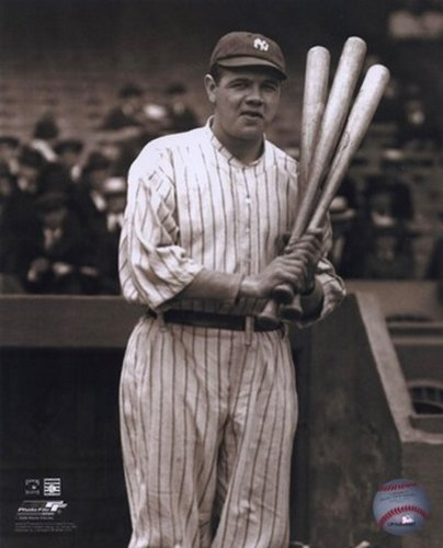 Babe Ruth With 3 Bats Photo Print (8 x 10)