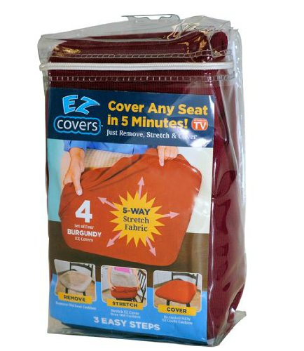 Seat Cushion Cover (Universal Stretch Seat Covers - 4 Pack Fabric Cushion Slipcovers and Protectors for all Chair Types - Burgundy - by EZ Cover)