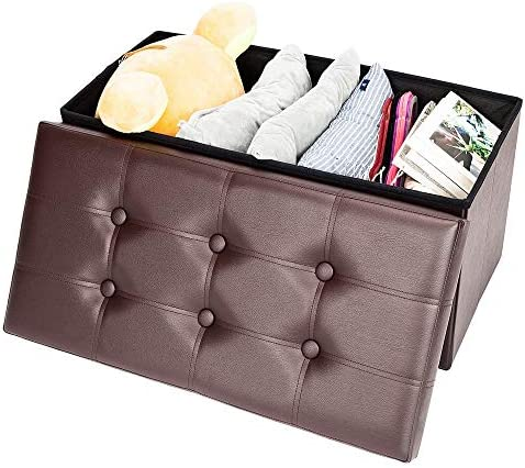 Swvzwy Leather Storage Bench 30 Inches Folding Storage Ottoman End of Bed Bench