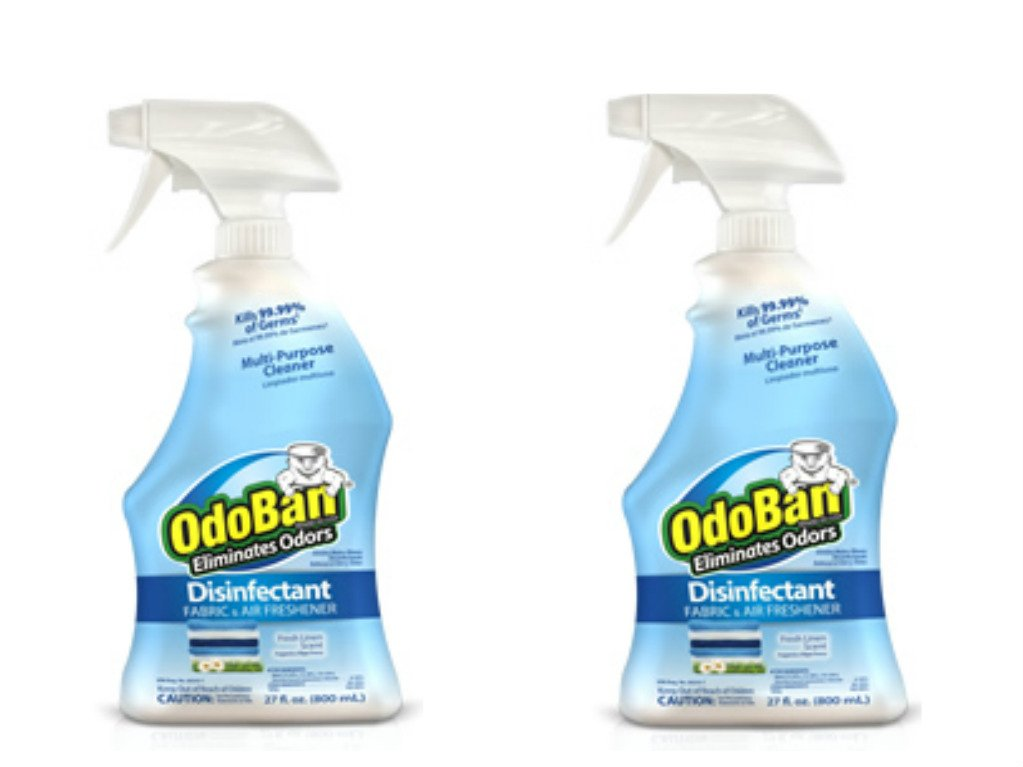 OdoBan Ready-to-Use 32oz Spray Bottle 2-Pack, Fresh Linen Scent - Odor Eliminator, Disinfectant, Flood Fire Water Restoration by OdoBan (Image #1)