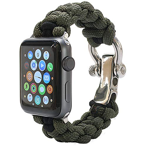 PSKOOK Replacement for Apple Watch Band 42mm Paracord Band with Elastic Rope Apple Watch Series 3/2/1 (Army Green ()