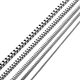 KissYan Stainless Steel 1mm to 3 mm Box Necklace 14 Inches to 36 Inches (2.0 mm/18 inches)