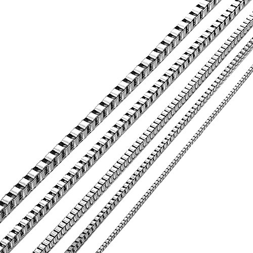 Kissyan Stainless Steel 1mm to 3 mm Box Necklace 14 Inches to 36 Inches (1 mm/22 inches)