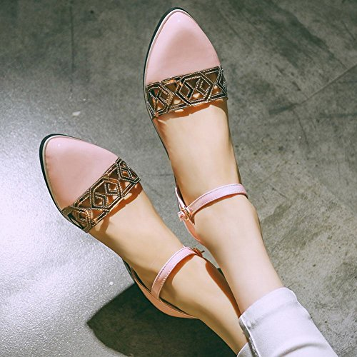 Carolbar Kvinnor Pekade-tå Borrat Mode Lackläder Spänne Låga Klack Sandaler Rosa