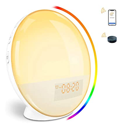 Luz de despertador WiFi reloj despertador Luz de noche LED ...