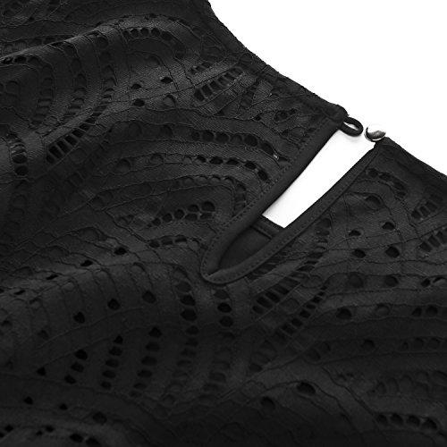 a Chicwe Encaje Casual Elástico Oficina Vestido Tallas con Dobladillo Tubo en la Negro Festoneado Forrado Cóctel Grandes y Fiesta Puño Rodilla Mujeres Vestido rA0r6