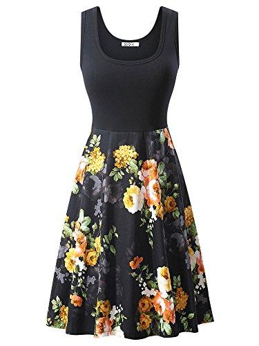 VETIOR Women's Vintage Scoop Neck Midi Dress Sleeveless A-line Cocktail Party Tank Dress (X-Large, ()