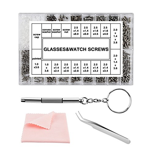 Easy+ Eyeglass Sunglass Repair Kit with Micro Screws, Screwdriver, Tweezers and Microfiber Cleaning Cloth for Glasses/Spectacles/Watch Repair, 1000 PCS