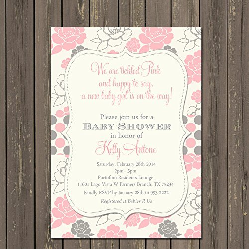 Pink and Grey Tickled Pink Baby Shower Invitations, Set of 10 5x7 invitations with white envelopes ()
