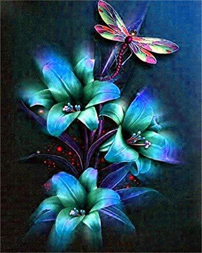 Pintura al oleo Kit Cuadro al oleo Lirio azul para Adultos y Ninos dibujo con cepillos decoracion de Navidad regalos 16 x 20 Pulgadas Sin Marco