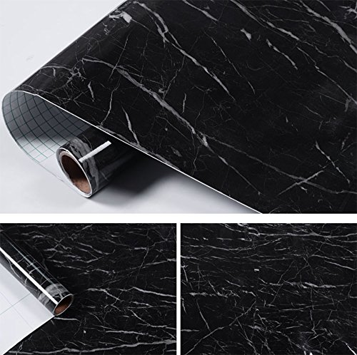 Faux Black Marble Contact Paper Self Adhesive Film Vinyl Granite Shelf Liner for Covering Counter Top Kitchen Cabinet Backsplash (24''x169'')