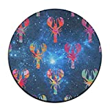 Rainbow Crayfish On Space Background Round Chair Cushion.Protect Your Carpet And Hardwood From Soil Water Leakage Or Stains, Anti Fading, Not Falling Off, Anti Slip Support, Super Soft Texture, Suitable For All Seasons. Free-spirited Design Adds A Mo...