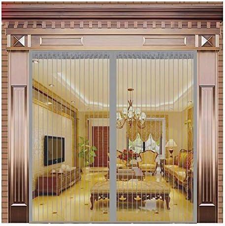 網戸 マグネット 大 網戸カーテン 夏 ホームパーティション 磁気 無料パンチング 寝室のカーテン ミュート マジックテープ 自動クローズ シバオ (Color : Grey Strips Gate, Size : 100x210cm)