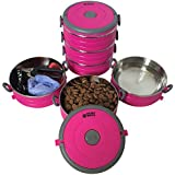 Stainless Steel Travel Dog Pet Bowl - Portable Food & Water Dog Bowls Set - 3 Size & 3 Color Options by Healthy Human - Med/Pink