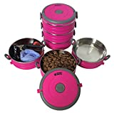 Image of Stainless Steel Travel Dog Pet Bowl - Portable Food & Water Dog Bowls Set - 3 Size & 3 Color Options by Healthy Human - Med/Pink